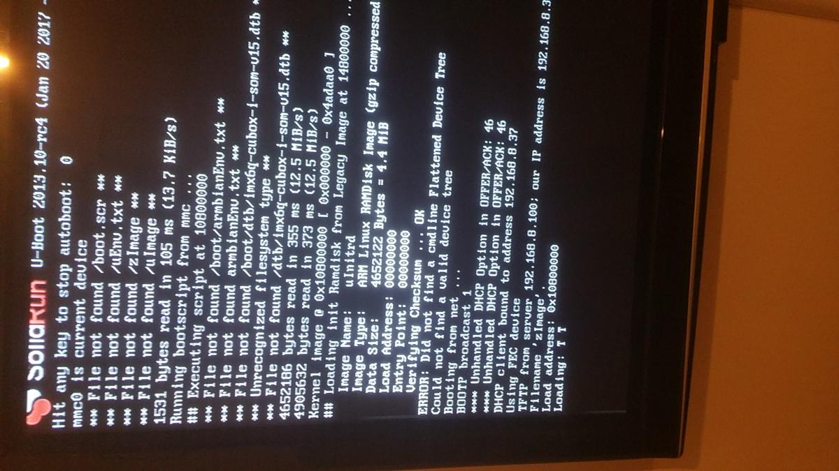Cubox-i] Unable to boot latest test images with kernel 4 9 5